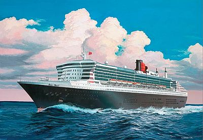 commercial ship, plastic model ship,Queen Mary 2 Ocean Liner -- Plastic Model Commercial Ship Kit -- 1/1200 Scale -- #05808